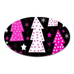 Pink playful Xmas Oval Magnet