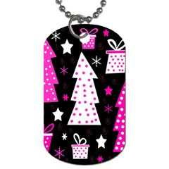 Pink playful Xmas Dog Tag (One Side)