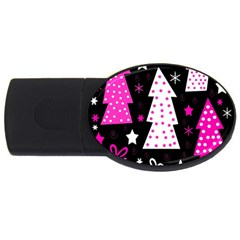 Pink playful Xmas USB Flash Drive Oval (1 GB)