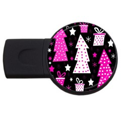 Pink playful Xmas USB Flash Drive Round (4 GB)