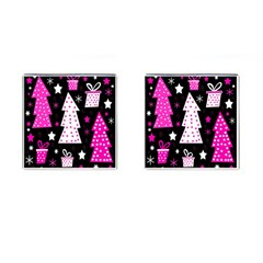 Pink playful Xmas Cufflinks (Square)