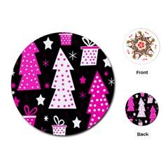 Pink playful Xmas Playing Cards (Round)