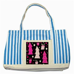 Pink playful Xmas Striped Blue Tote Bag