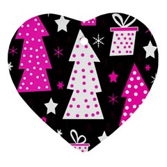 Pink playful Xmas Heart Ornament (2 Sides)