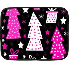 Pink playful Xmas Double Sided Fleece Blanket (Mini)