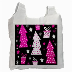 Pink playful Xmas Recycle Bag (One Side)