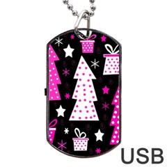 Pink playful Xmas Dog Tag USB Flash (Two Sides)