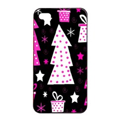 Pink playful Xmas Apple iPhone 4/4s Seamless Case (Black)