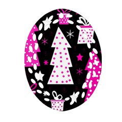 Pink playful Xmas Ornament (Oval Filigree)