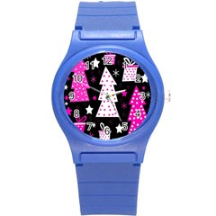 Pink playful Xmas Round Plastic Sport Watch (S)