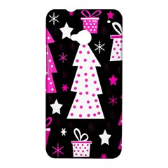 Pink playful Xmas HTC One M7 Hardshell Case