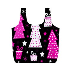 Pink playful Xmas Full Print Recycle Bags (M)