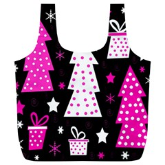Pink playful Xmas Full Print Recycle Bags (L)