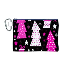 Pink playful Xmas Canvas Cosmetic Bag (M)