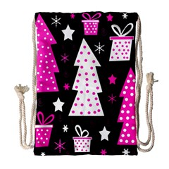 Pink playful Xmas Drawstring Bag (Large)