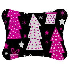 Pink playful Xmas Jigsaw Puzzle Photo Stand (Bow)