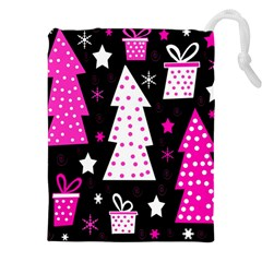 Pink playful Xmas Drawstring Pouches (XXL)