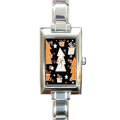Orange playful Xmas Rectangle Italian Charm Watch