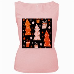 Orange playful Xmas Women s Pink Tank Top