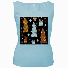 Orange playful Xmas Women s Baby Blue Tank Top