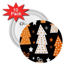Orange playful Xmas 2.25  Buttons (10 pack)
