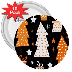 Orange playful Xmas 3  Buttons (10 pack)