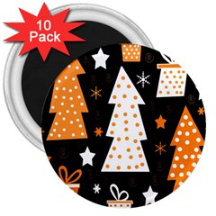 Orange playful Xmas 3  Magnets (10 pack)