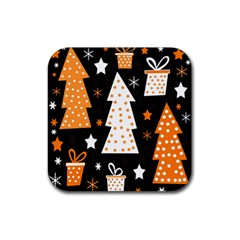 Orange playful Xmas Rubber Coaster (Square)
