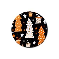 Orange playful Xmas Rubber Coaster (Round)