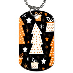 Orange playful Xmas Dog Tag (Two Sides)