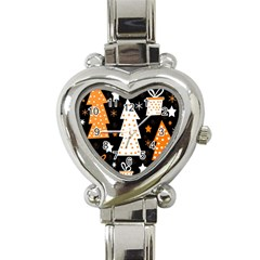 Orange playful Xmas Heart Italian Charm Watch