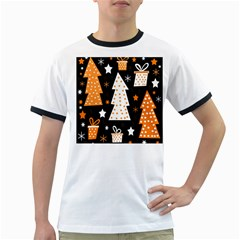 Orange playful Xmas Ringer T-Shirts