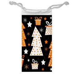 Orange Playful Xmas Jewelry Bags