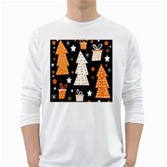 Orange playful Xmas White Long Sleeve T-Shirts