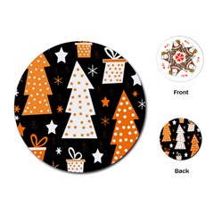 Orange playful Xmas Playing Cards (Round)
