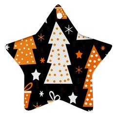Orange playful Xmas Star Ornament (Two Sides)