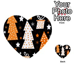 Orange playful Xmas Multi-purpose Cards (Heart)