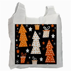 Orange playful Xmas Recycle Bag (Two Side)
