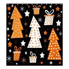 Orange playful Xmas Shower Curtain 66  x 72  (Large)