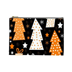 Orange playful Xmas Cosmetic Bag (Large)