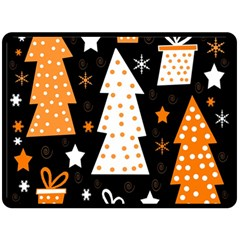 Orange playful Xmas Fleece Blanket (Large)