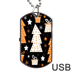 Orange playful Xmas Dog Tag USB Flash (One Side)