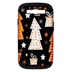 Orange playful Xmas Samsung Galaxy S III Hardshell Case (PC+Silicone)