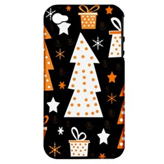 Orange playful Xmas Apple iPhone 4/4S Hardshell Case (PC+Silicone)