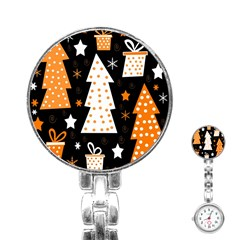 Orange playful Xmas Stainless Steel Nurses Watch