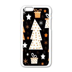 Orange playful Xmas Apple iPhone 6/6S White Enamel Case