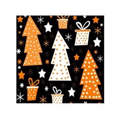 Orange playful Xmas Small Satin Scarf (Square)
