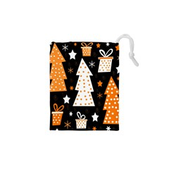 Orange playful Xmas Drawstring Pouches (XS)