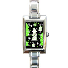 Green Playful Xmas Rectangle Italian Charm Watch