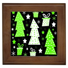 Green Playful Xmas Framed Tiles